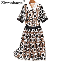 Ziwwshaoyu 3D Applique dresses Peter pan Collar Hollow Out temperament Slim dress Spring and summer new women's