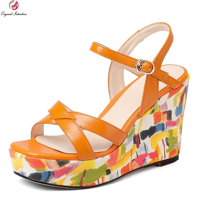 eb804eec19ada Original Intention Women Sandals Cow Leather Fashion Open Toe Wedges Sandals  Beautiful White Orange Shoes Woman US Size 4-8.5