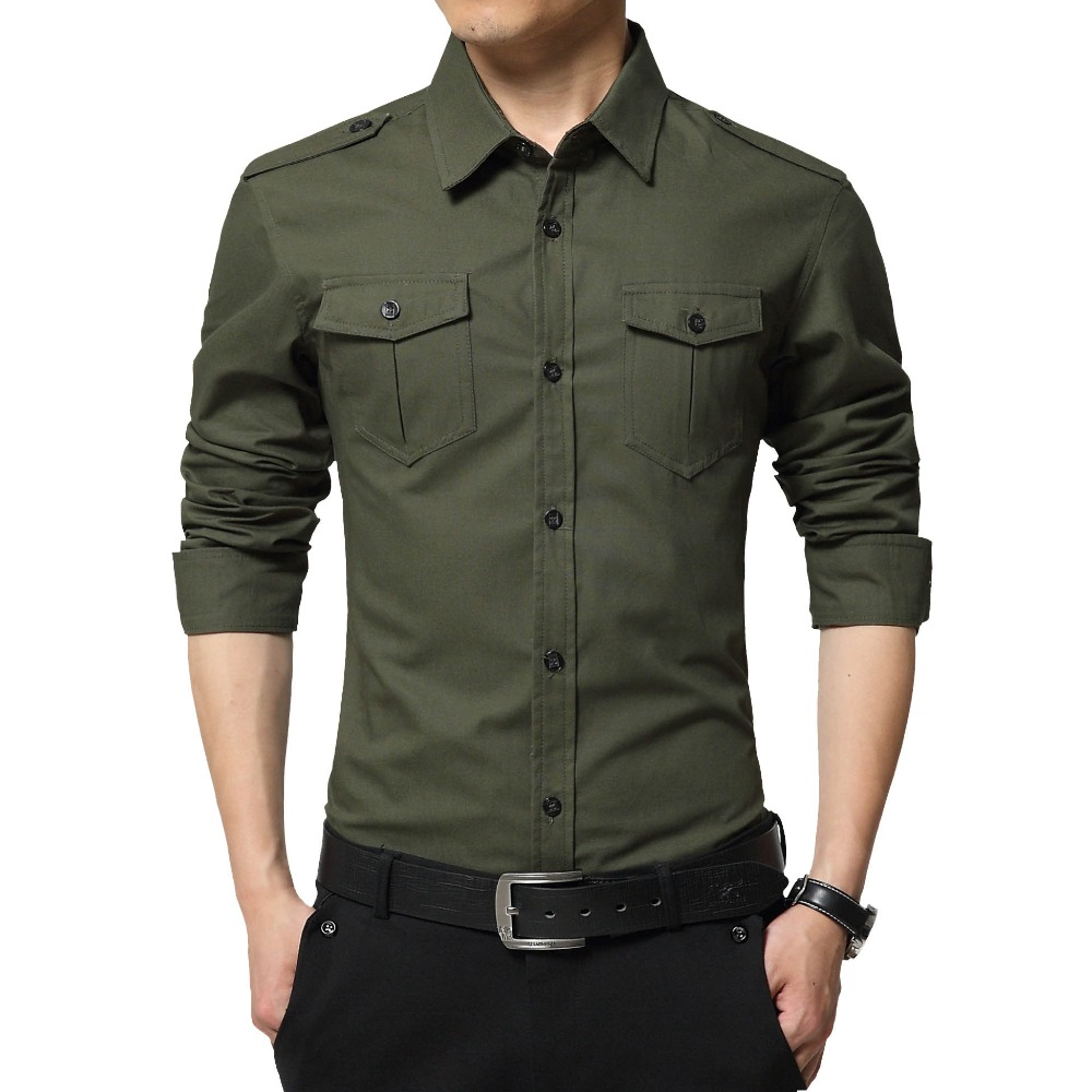 2016 autumn fashion brand men clothes slim fit men long for Mens military style long sleeve shirts