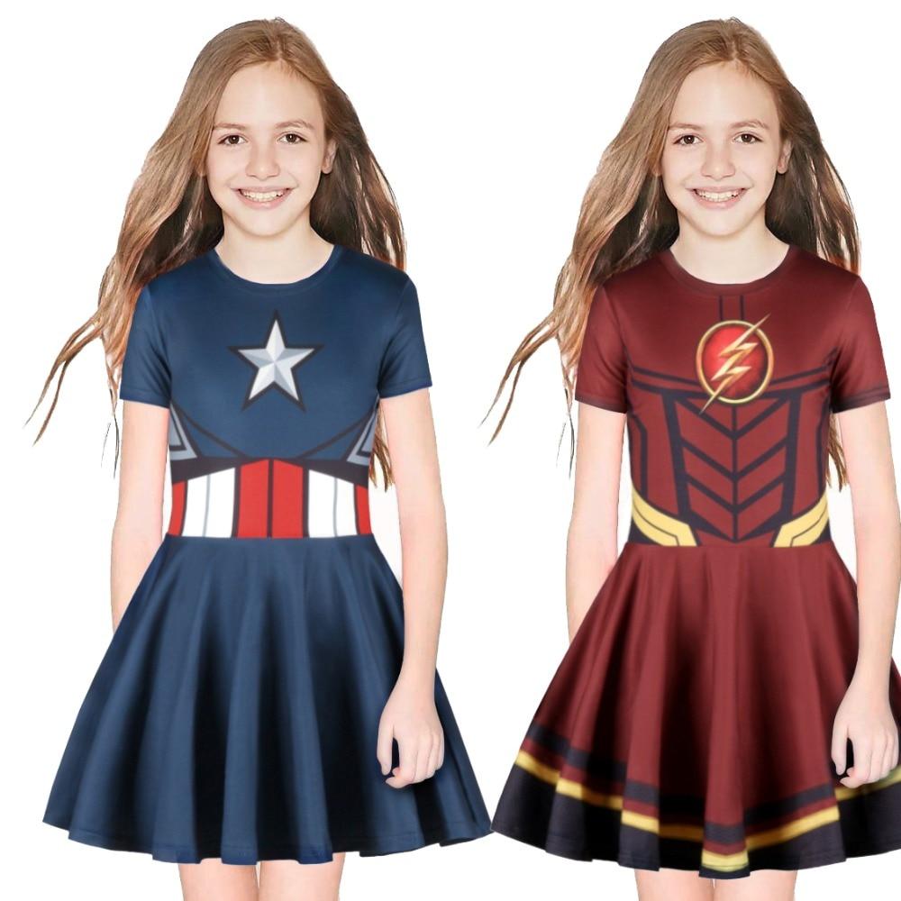 Kids Girls Captain American Superhero Cosplay The Flash Costume Ball Halloween Costume Suit Fashion Fold Girl Short Sleeve Dress