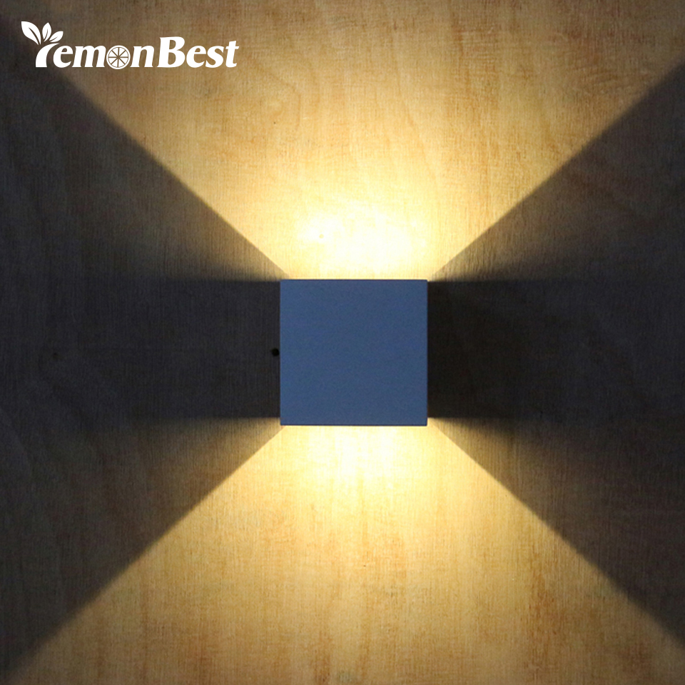 Com buy 10cm cube decorative battery operated rgb led table lamps - Waterproof Cube Cob Led Light Wall Lamp Modern Home Lighting Decoration Outdoor Wall Lamp Aluminum 7w