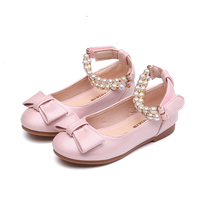 2018 Spring Autumn New Princess Single Shoes Girl Pearl Dance Student Shoes Bow Show Leather Kids