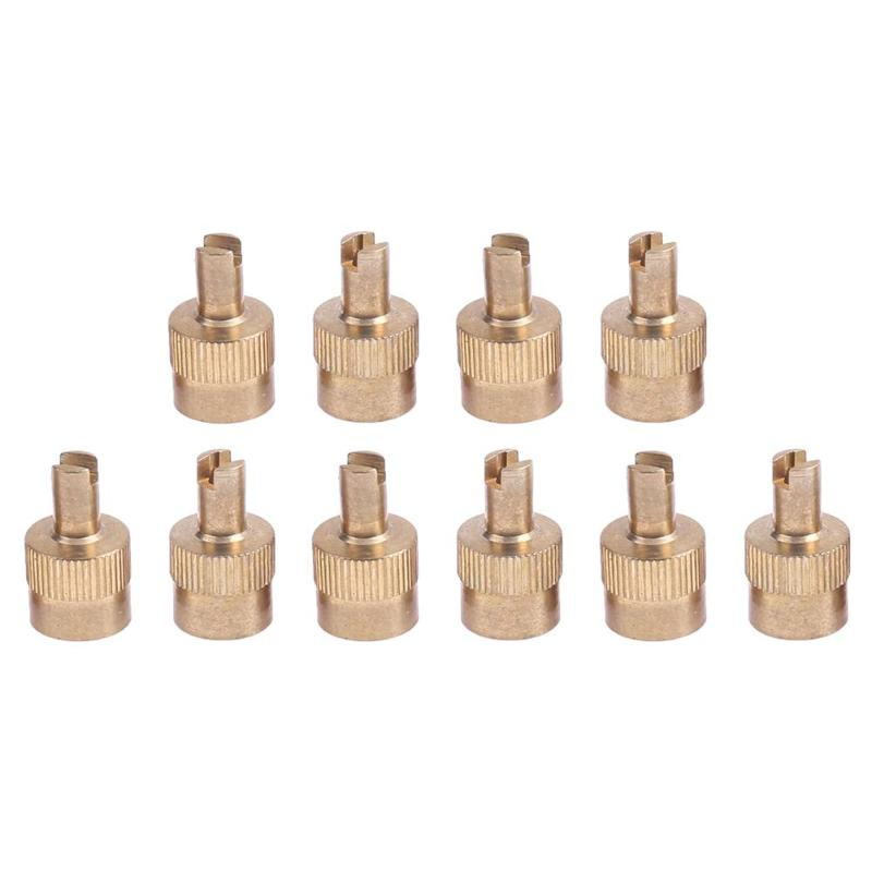 10pcs Coppe Slotted Head Valve Stem Caps For Car Motorcycle Schrader Valve