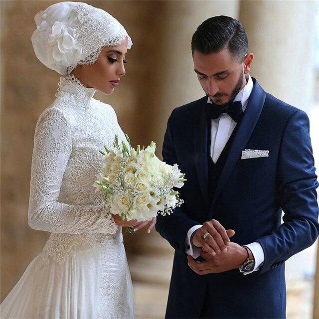 Muslim Wedding Dress Arab Arabic High Neck Long Sleeve With Hijab ...