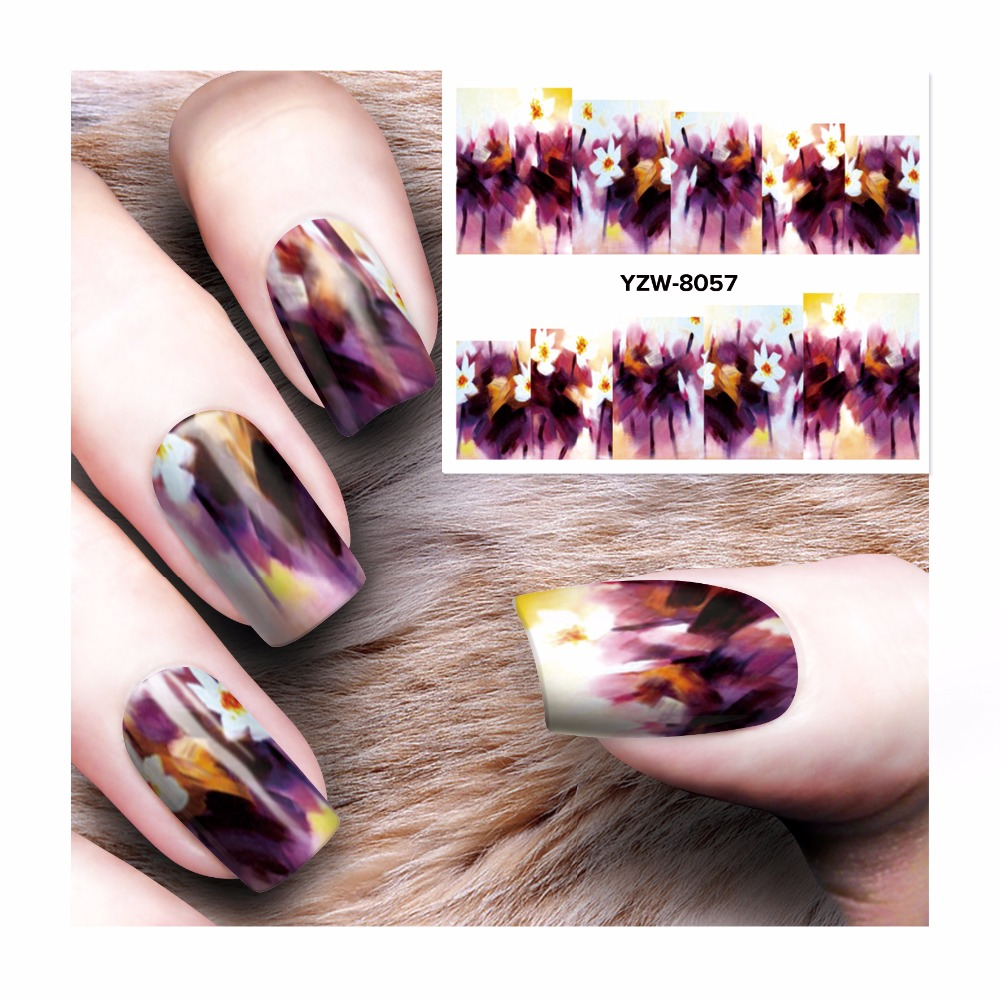 ZKO 1 Sheet Water Decal Nail Water Transfer Gothic Blooming Flower Nail Sticker Stamping For Nail Art Stamp 8057 zko 1 sheet water transfer nail art sticker decal foil adhesive nails tips nail decoration makeup tools 8028