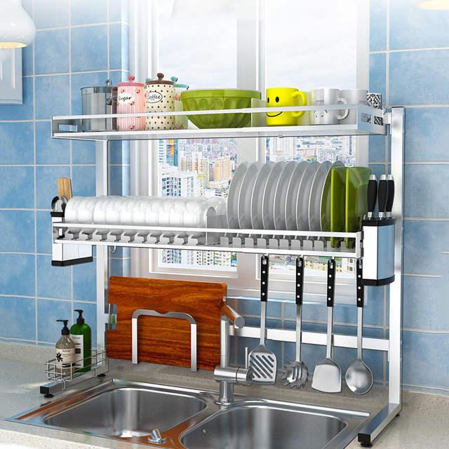 Adjustable 304 Stainless Steel Kitchen Dish Rack Plate Cutlery Cup Sink  Drying Rack Dish Drainer Kitchen Organizer Storage