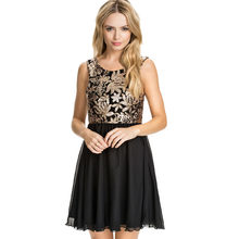 Summer Vestidos 2016 Women Sleeveless Sequined Skater Mini Dress Elegant  Chiffon Dress Sexy Black Cocktail Party Dresses S1296 25b5bbe2f302