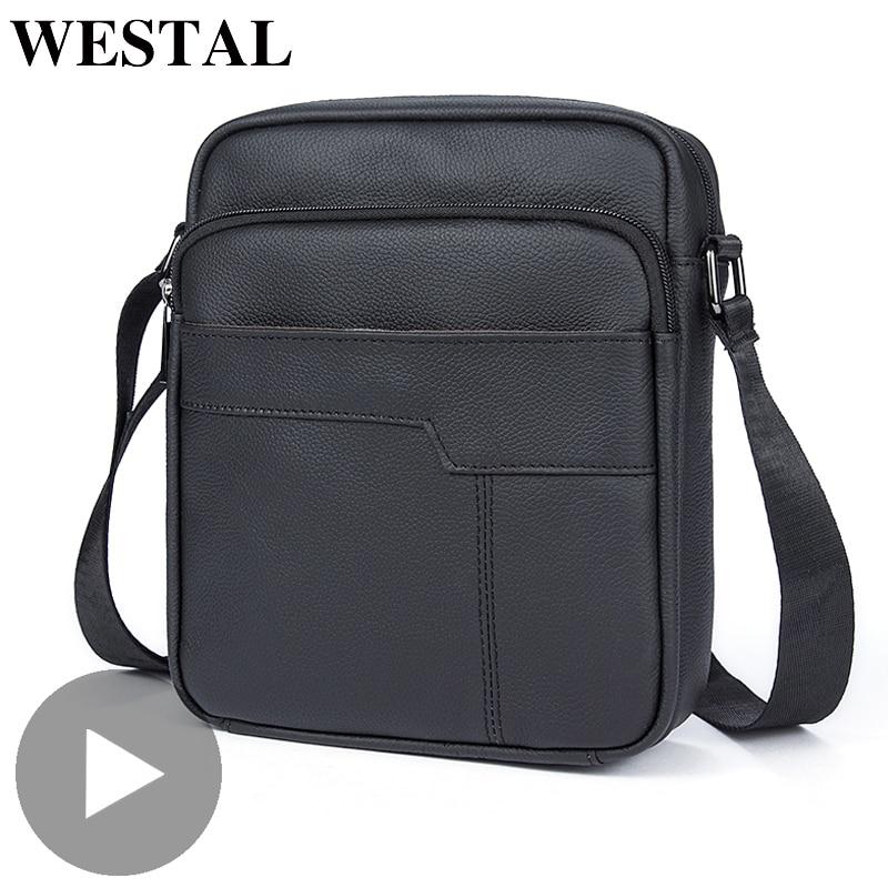 Westal Shoulder Messenger Women Men Bag Genuine Leather Briefcase Office Business Work For Handbag Male Female Portafolio Retro