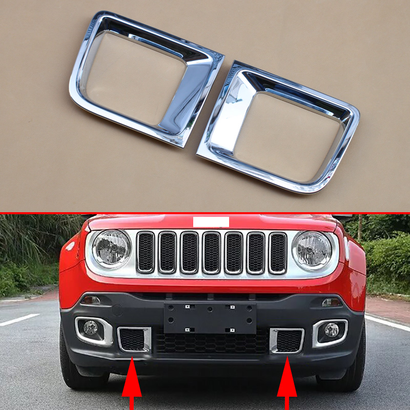 New Chrome Front Bumper Air Vent Cover Trim For Jeep Renegade 2015 2016 2017