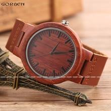 Vintage Para Hombre Marca de Lujo de Relojes Completo reloj De Cuarzo de Madera Rojo Real Naturaleza De Madera De Madera Hechos A Mano Relogio de Pulsera en Caja OEM
