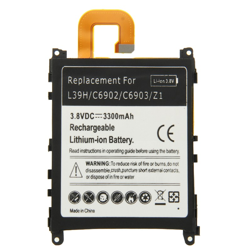High Capacit <font><b>3.8V</b></font> 3300mAh Rechargeable Mobile Phone <font><b>Lithium</b></font>-<font><b>ion</b></font> <font><b>battery</b></font> For Sony Xperia Z1 L39H C6902 C6903 For Sony cell Phone image