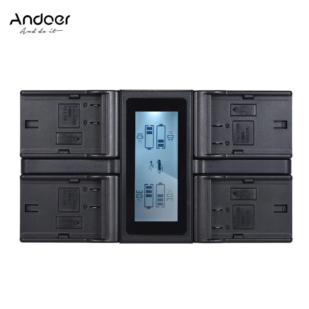 Andoer DMW BLF19E 4 Channel LCD ดิจิตอลสำหรับกล้อง Lumix DC GH5 DMC GH3 DMC GH3K DMC GH4 DMC GH4K-ใน ที่ชาร์จกล้อง จาก อุปกรณ์อิเล็กทรอนิกส์ บน AliExpress - 11.11_สิบเอ็ด สิบเอ็ดวันคนโสด 1