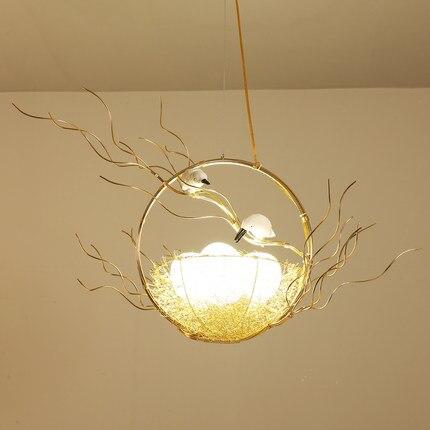 Rétro fer branche pendentif LED lustres Lustre salle à manger LED Lustre éclairage oiseau nid LED luminaires suspendus luminaire - 6