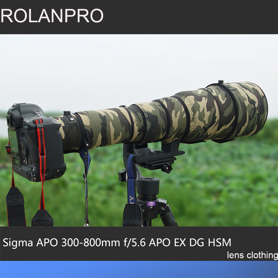 ROLANPRO Lens Clothing Camouflage Rain Cover for Sigma APO 300-800mm f/5.6 EX DG HSM Lens Protective Sleeve DSLR Bag Camera Case sigma sigma 100 400mm f5 6 3 dg os hsm contemporary полнокадровой телефото зум объектив для съемки птиц лотоса nikon байонет объектива