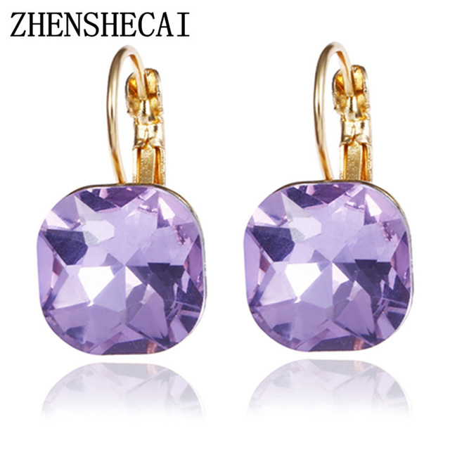 6 Colors Steampunk Gold Color Blue Crystal Square Stud Earrings for Women Gothic Wedding Earring Statement Jewelry bijoux e0257