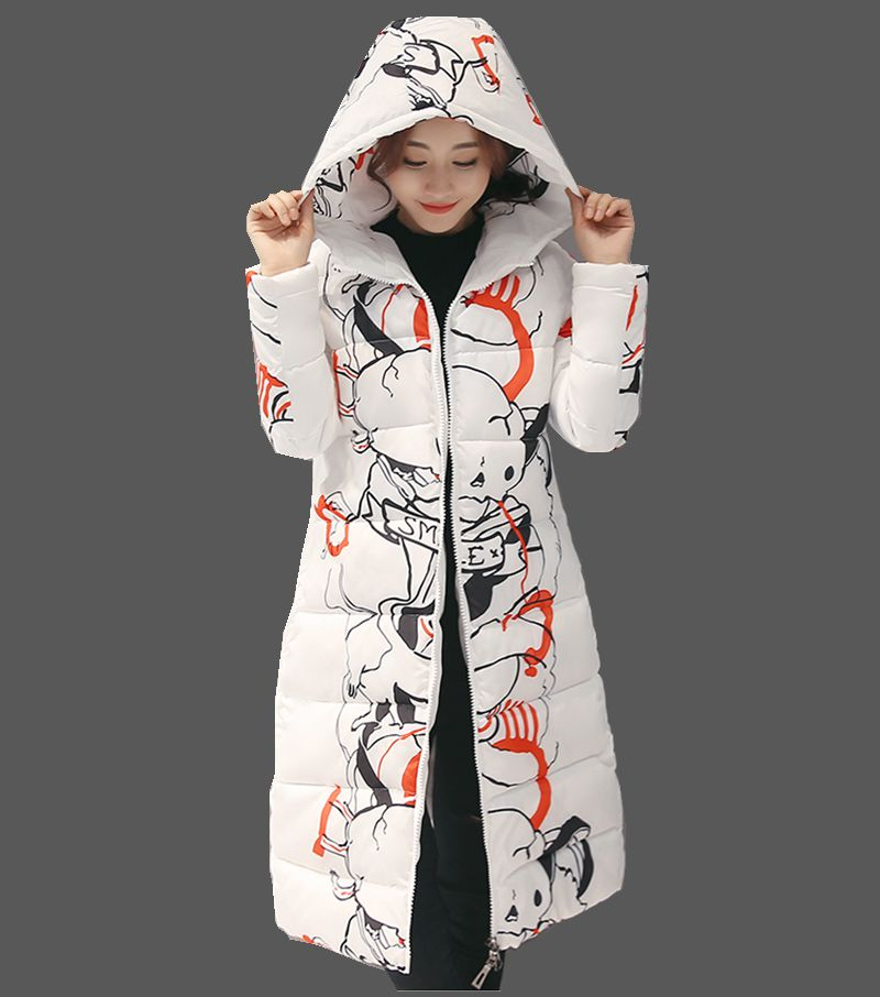 2016 Latest Winter Fashion Women Down jacket  Hooded Thicken Super warm Medium long Coat Printing Loose Big yards Parkas NZ310