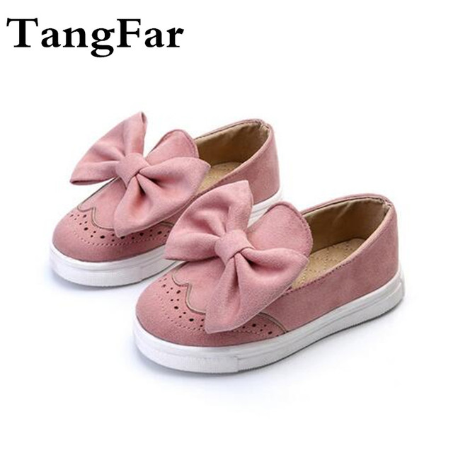 Children Flock Shoes Boys & Girls Bowknot Sneakers Fashion Kids Shoes New 2017 Spring Baby Princess Shoes