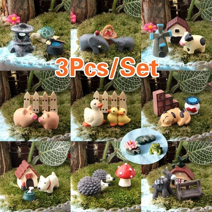 3pcs Set Cute Resin Dog World Ornaments Accessory Resin Craft Figurines Miniatures For Home Garden Decoration Figurines Miniatures Aliexpress