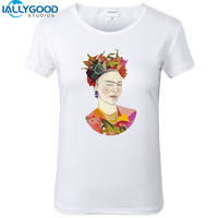 2017 New Summer Funny Winking Frida Kahlo T shirts Women Fashion Cotton Print T-Shirts Short Sleeve Slim White Women Tops S1463