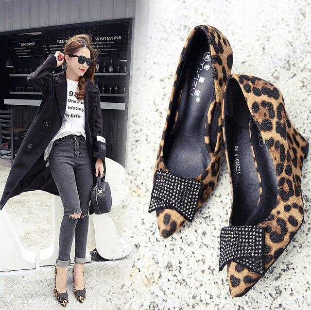Европа и США Весна и осень новая кожа 8 см Обувь на высоком каблуке сладкий мелкая рот leopard Клин работы.