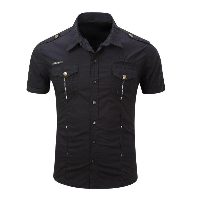 Mens Shirt 2018 New Men Cargo Shirt Fashion Casual Shirt Summer Style 100% Cotton Solid Mens Casual Shirt Plus Size S-XXXL
