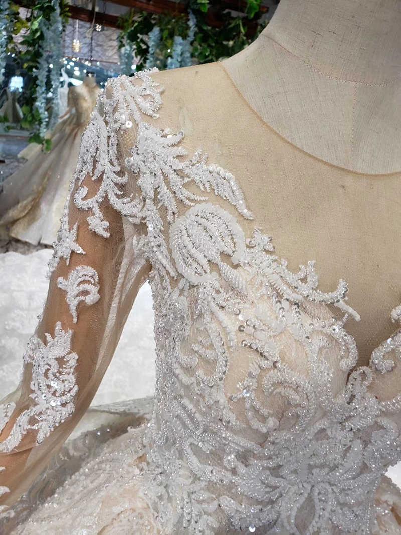 HTL372 роскошное популярное свадебное платье со съемным шлейфом с круглым вырезом длинное свадебное платье Бесплатная доставка vestido de noiva princesa