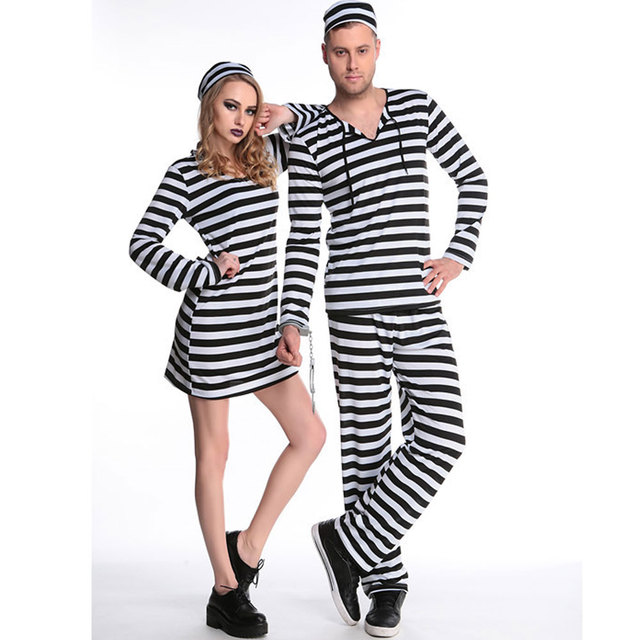 halloween purim costumes adult women men scary zombie prisoner costume black white stripe fancy cosplay clothing