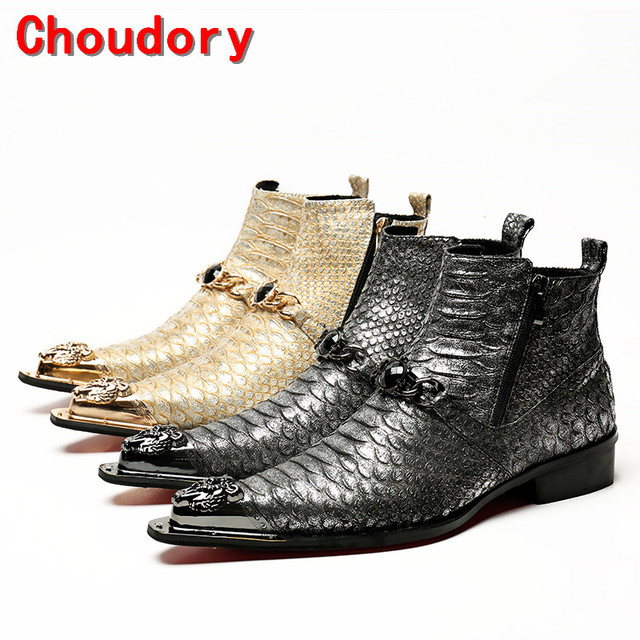 Choudory gold black combat boots for sale dress military boots steel toe work shoes men side zipe chelsea boots botas militares