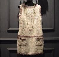 Women Elegant Office Dress Custom Plus Size Xs 5xl Tweed Winter Dress Ladies Vestidos De Fiesta