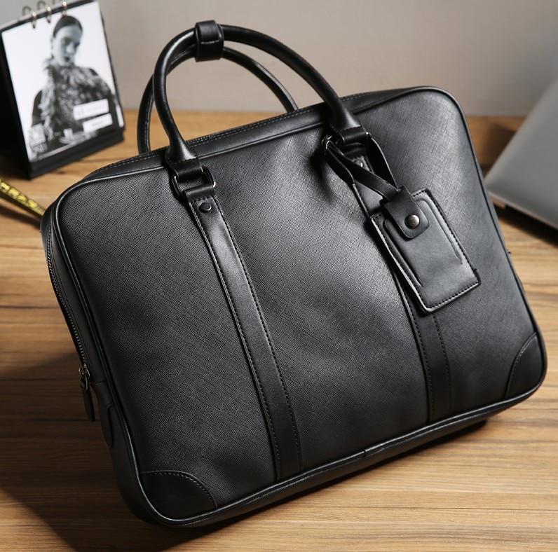 2019 OL Office Man Briefcase The Single Shoulder Bag  Fashion Life Simple Bag Dual Purpose Computer Case  Cross Pattern