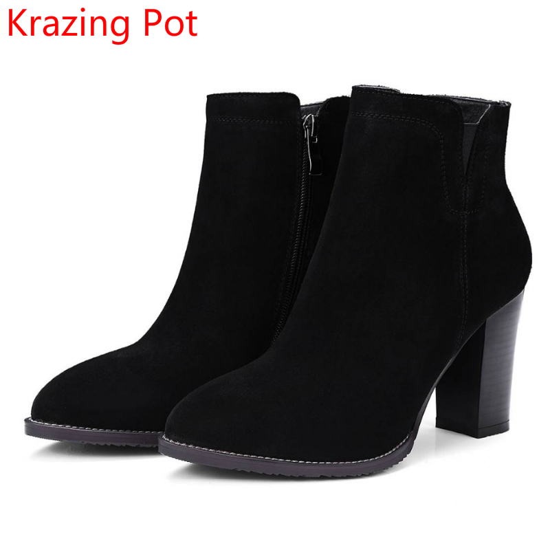 2018 Fashion Winter Shoes Cow Suede High Heels Solid Pointed Toe Zipper Handmade Warm European Style Sweet Women Ankle Boots L26 2018 fashion winter shoes cow suede high heels solid pointed toe zipper handmade warm european style sweet women ankle boots l26