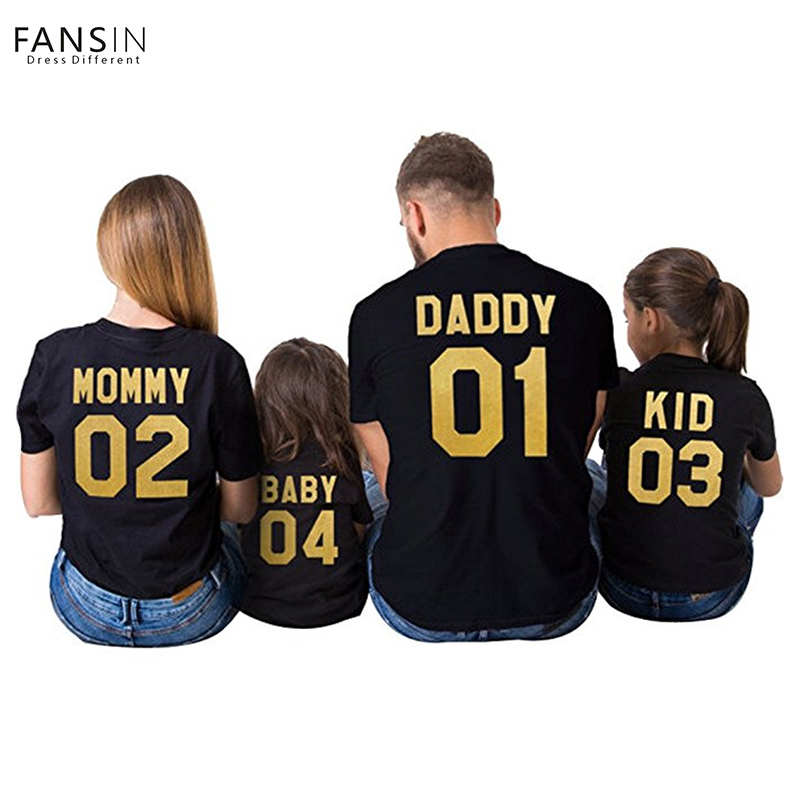 New Family Matching Outfits Number Letter Print Tops T-shirts Clothes Short Sleeve Mom Dad Kids Baby Casual Family Clothing Set