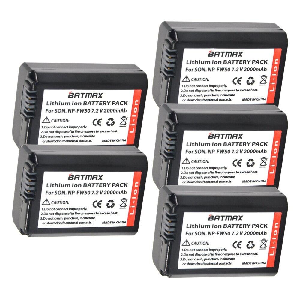 5 pcs 2000 mah Bateria NP-FW50 NPFW50 NP FW50 Batteries pour Sony NEX-5 NEX-7 SLT-A55 A33 A55 A37 A3000 A5000 a51000 A6000 Caméras