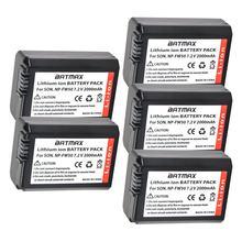 5 uds 2000mAh Bateria NP-FW50 NPFW50 NP FW50 baterías para Sony NEX-5 NEX-7 SLT-A55 A33 A55 A37 A3000 A5000 A51000 A6000 cámaras