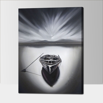 Black and White Abstract Oil Painting Boat Modern Home Decor Canvas Painting Calligraphy Hand Painting Pictures for Living Room