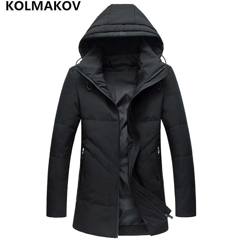 New Mens winter duck   down     coats   thicken Parkas Jacket Classic Black slim overcoat long Hooded Parkas Jackets plus size L-5XL