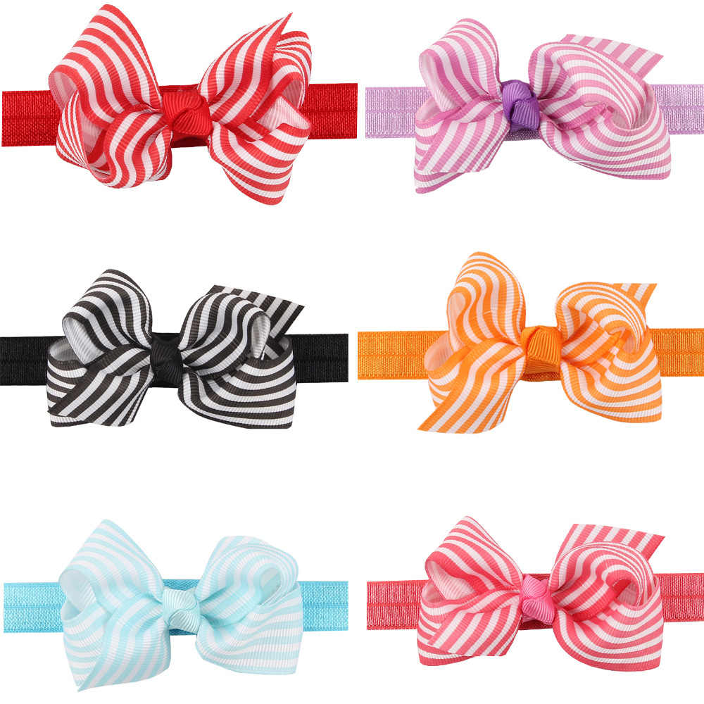 baby girl headband Infant hair accessories band bows striped Headwear tiara headwrap Gift Toddlers bandage Ribbon newborn cloth