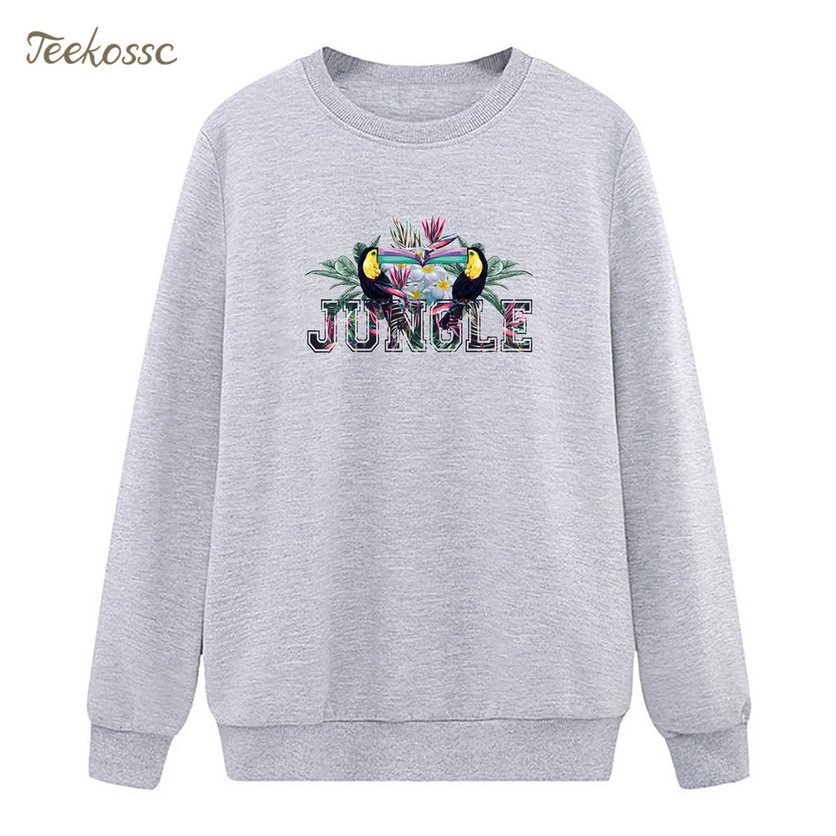 Jungle Bird Sweatshirt Gray Casual Hoodie 2018 New Brand Winter Autumn Women Lady Pullover Fleece Warm Loose Fit Streetwear XXL