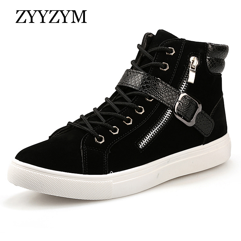 цена ZYYZYM New 2018 Fashion Men Shoes Ankle Boots Casual Flock PU Patchwork Punk Rock Chain Design High Top Sneakers For Men