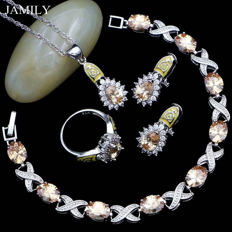 Jewelry-Sets Necklace/bracelet 925-Sterling-Silver Women for Champagne And White CZ JAMILY