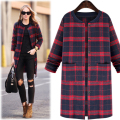 5xl plus big size coats women spring autumn 2017 feminina new blue red plaid grid long coat female A2408