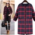 5xl plus big size coats women spring autumn 2017 feminina new blue red plaid grid long coat female A2408