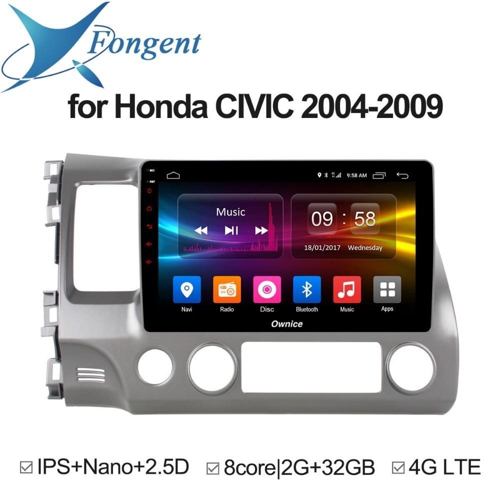 Pour Honda Civic 2004 2005 2006 2008 2009 voiture Android tête unité Radio DVD GPS navigateur véhicule système informatique lecteur multimédia