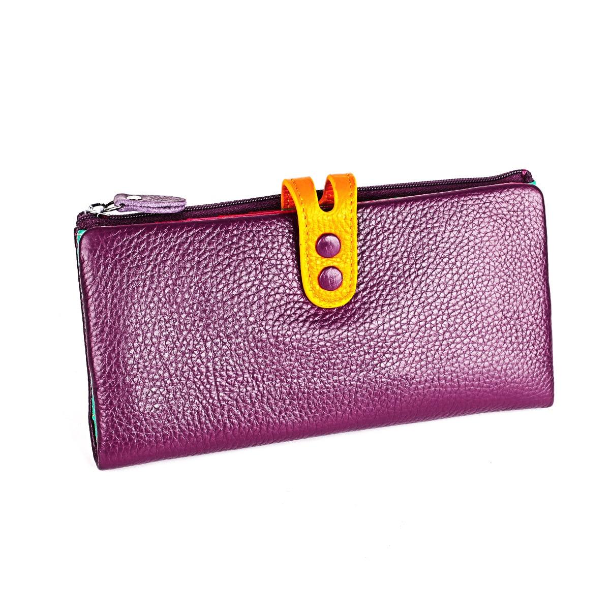 Image 2 - 女性本革財布カラフルな女性ロングリアルレザークラッチ財布女性ジッパー電話コイン財布札入れ女性のバッグ財布   -