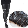 Zipper Punk Leggins Women Patterned Bandage Cool Girl Pants Leggings Leginsi Lacina Calca Black
