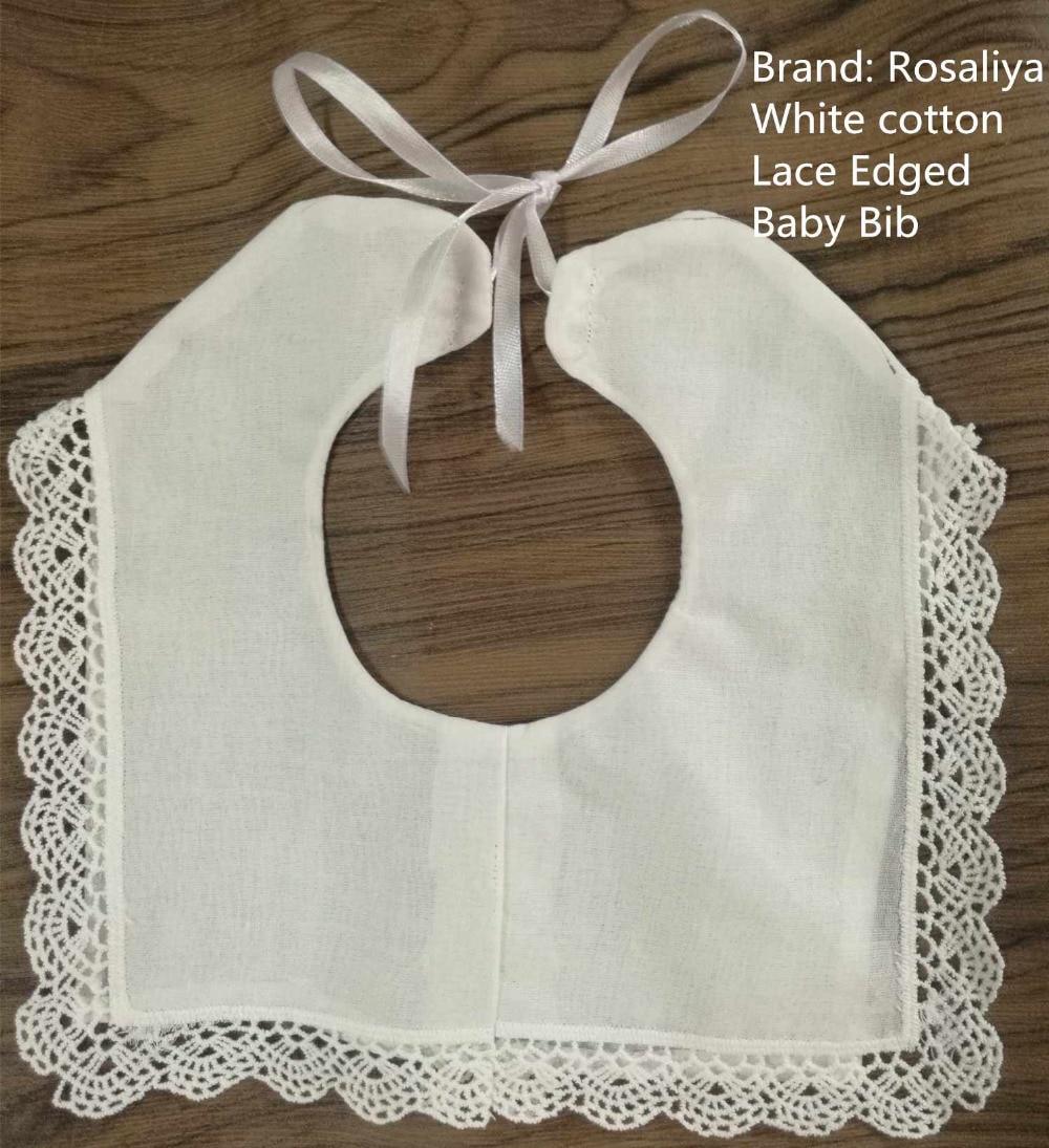 Set Of 50 Fashion White Cotton Lace Edged Baby Bib 8