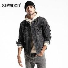 Simwood 2020 Casual Denim Jackets Mens 100% Cotton New European and American Coats Long Sleeve Fashion Outwear Men Coat 180155