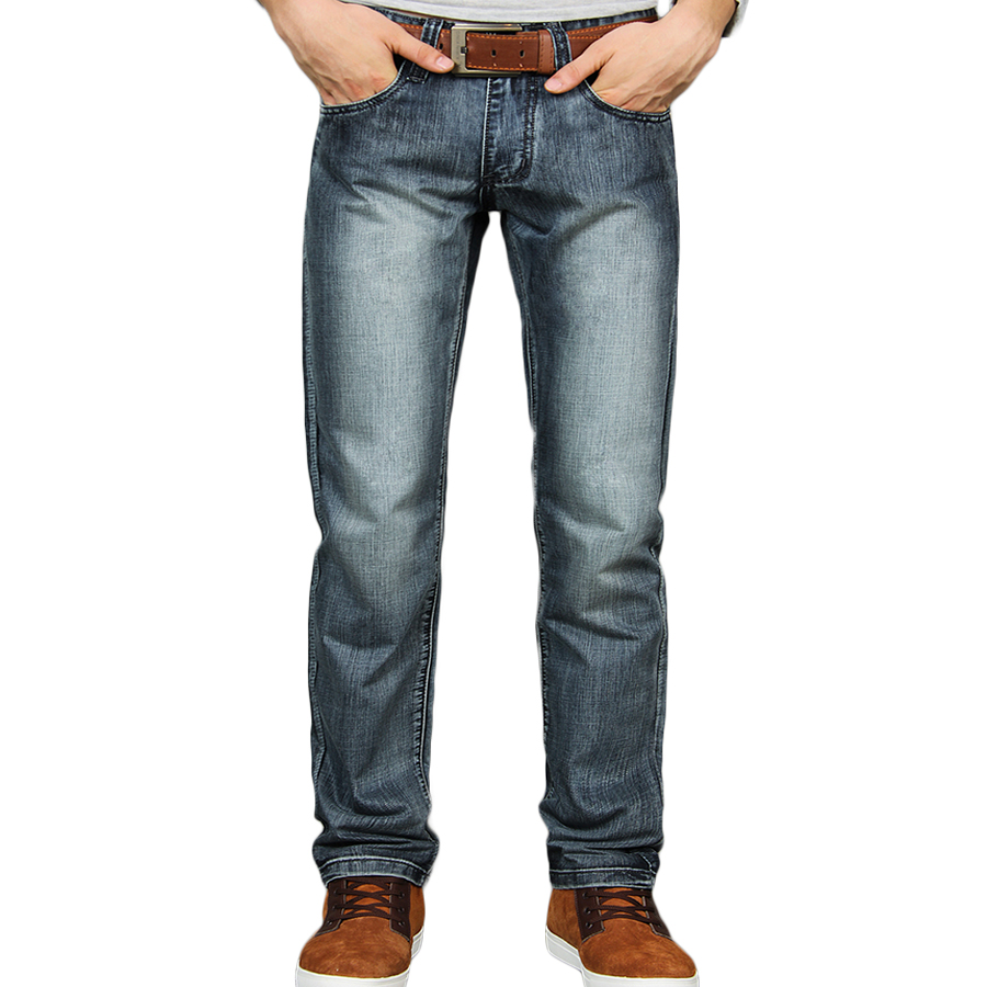 Men s vintage style jeans high quality denim straight men s casual trousers size