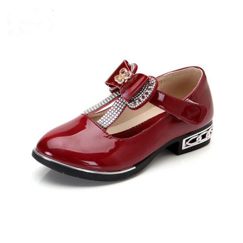 Autumn Kids Fashion Princess High heel Shoes Girls Bow Patent Leather Child Dance Shoes Rhinestone Children Sneakers