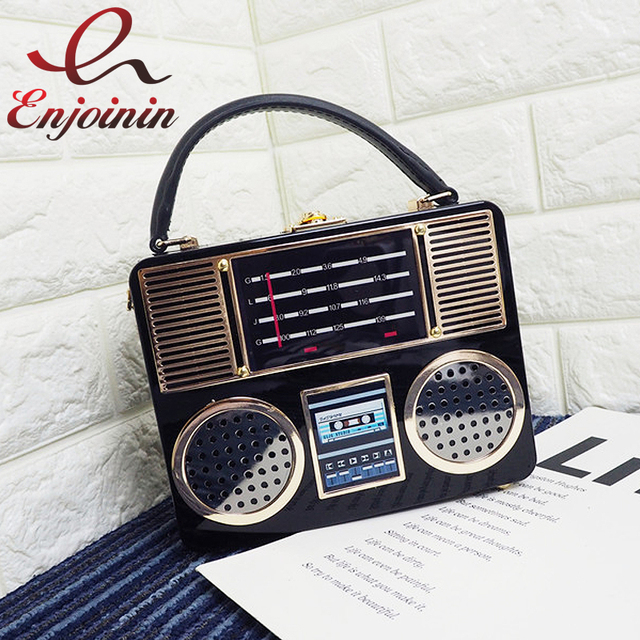 Винтаж радио стиль дамы клатч сумка Box Сумки женские Crossbody сумка